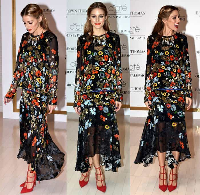 Olivia Palermo took the romantic route and partnered the dress with red Christian Louboutin Toerless Muse suede pumps