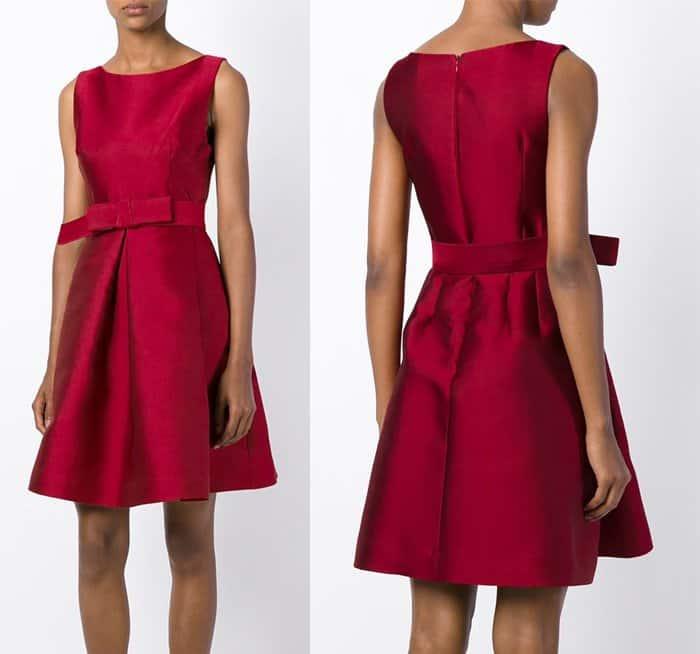 PAROSH Bow Detail Flared Dress