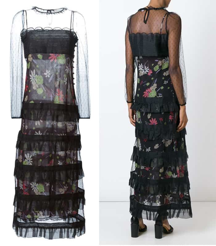 Red Valentino Floral Print Tiered Ruffle Dress