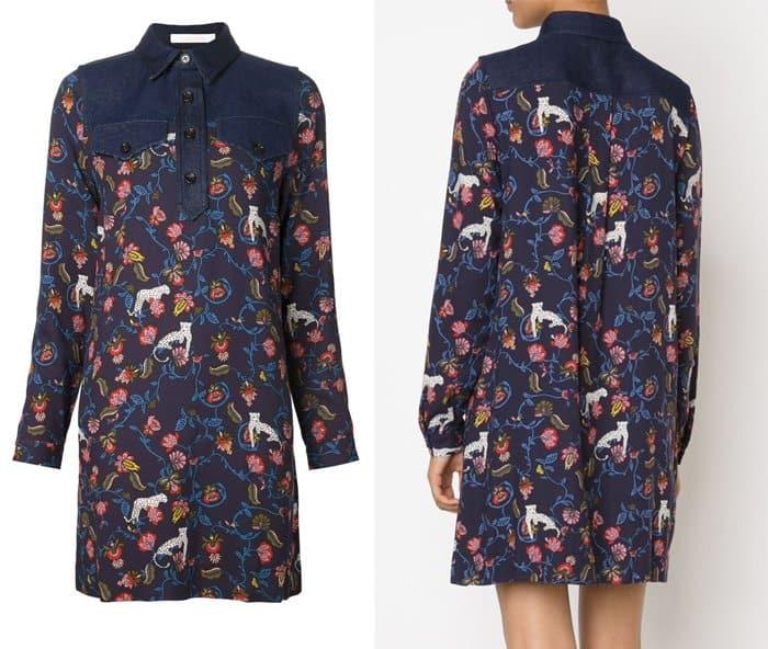 See by Chloe Denim Detail Floral Print Dress