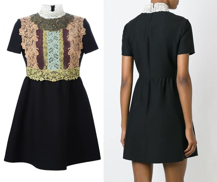 Valentino Lace Bib Shortsleeved Dress