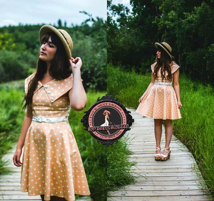 Amy goes for vintage in polka-dot dress and platform wedge sandals