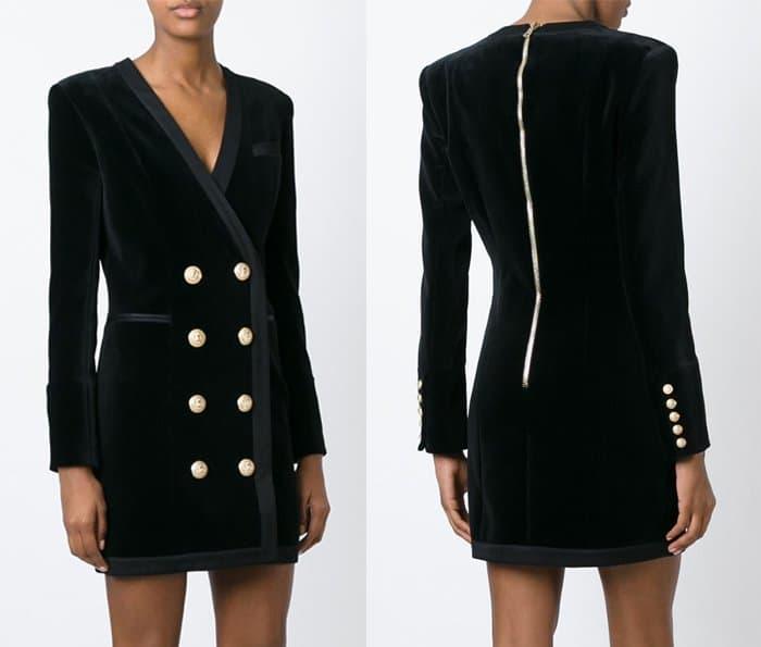 Balmain Double Breasted Velvet Dress