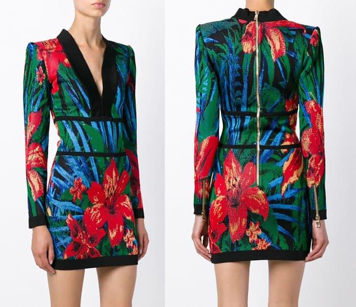 Balmain Floral Jacquard Mini Dress