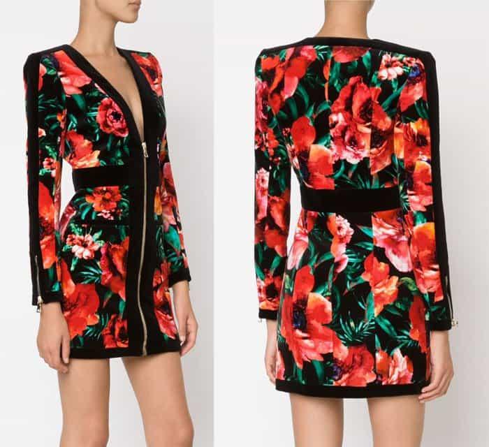 Balmain Floral Print Dress