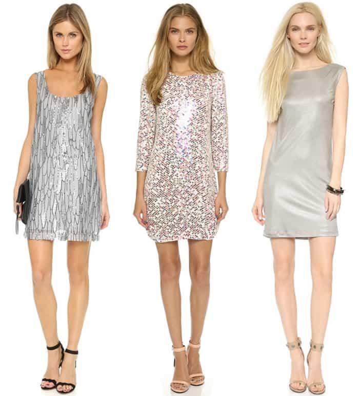 BB Dakota Roselynn Sequin Tank Dress / Parker Black Petra Dress / Grace Brenda Dress with Draped Back in Silver Gray