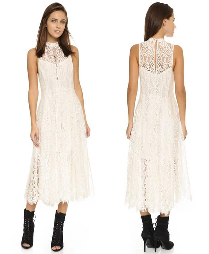 Free People Angel Rays Lace Trapeze Midi Dress in Ivory