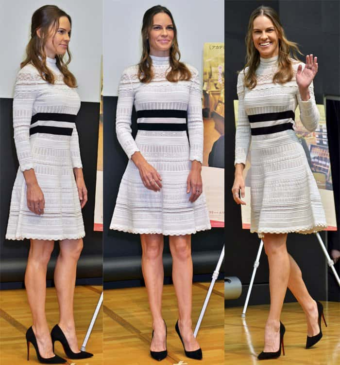 Hilary Swank showed off her slim figure and mile-long legs in the A-line dress