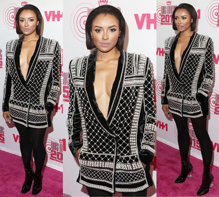 Kat Graham wearing H&M x Balmain velvet blazer dress