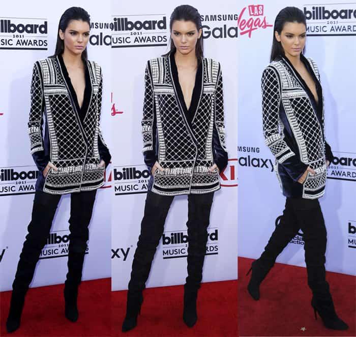 Kendall Jenner wearing H&M x Balmain velvet blazer dress