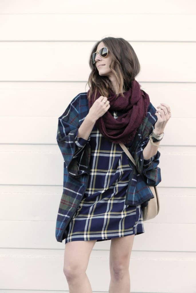 Kiara's plaid mini dress and plaid jacket