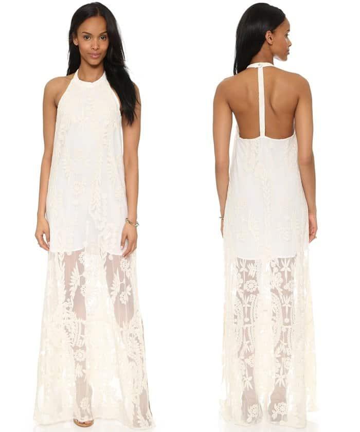 Line & Dot Aura T-Back Dress in Cream