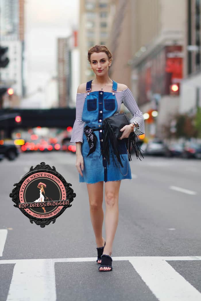 Noor styles her denim dungaree dress with a striped off-the-shoulder top