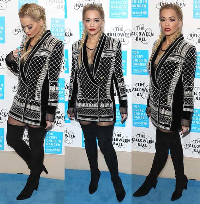 Rita Ora wearing H&M x Balmain velvet blazer dress