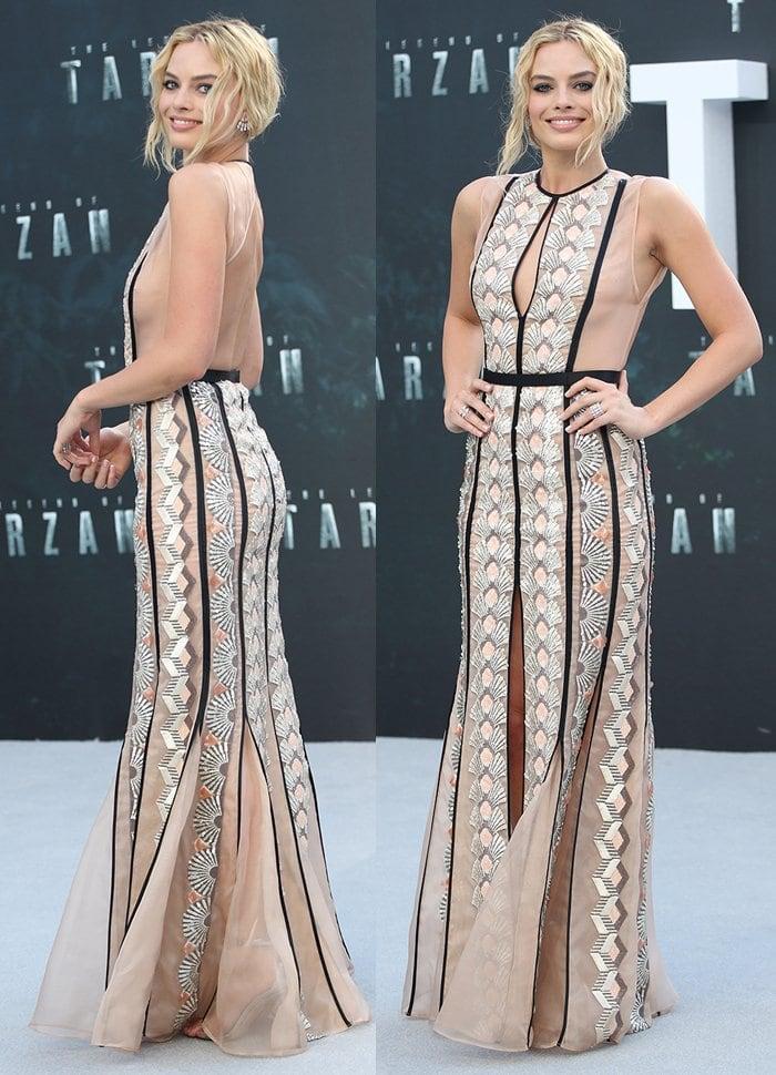 Margot Robbie stuns in Miu Miu gown before a fashion mishap