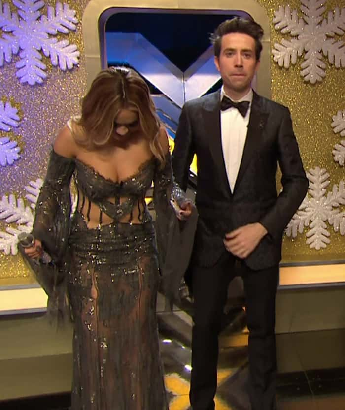 Rita Ora also accidentally tore her dress