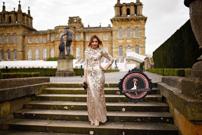 Elena stuns in a champagne long dress