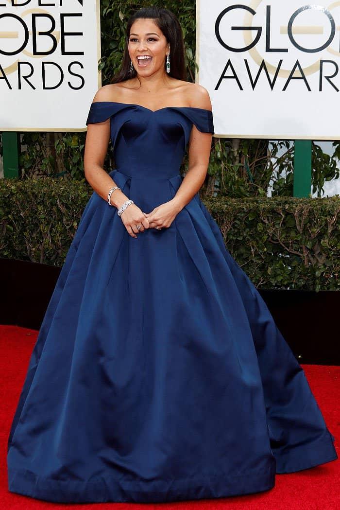 Gina Rodriguez Zac Posen Golden Globes 2016