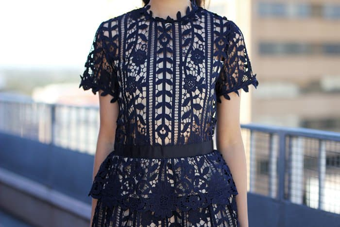 Jody's elegant fit-and-flare embroidered lace dress