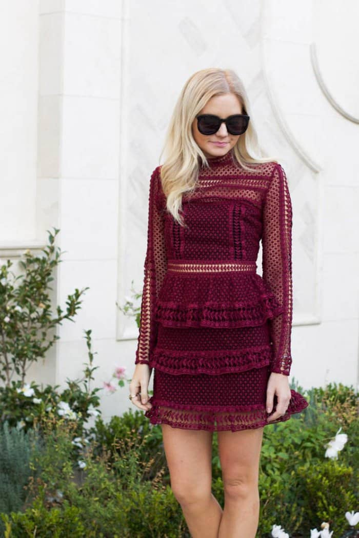 Kylee's tiered lace mini dress