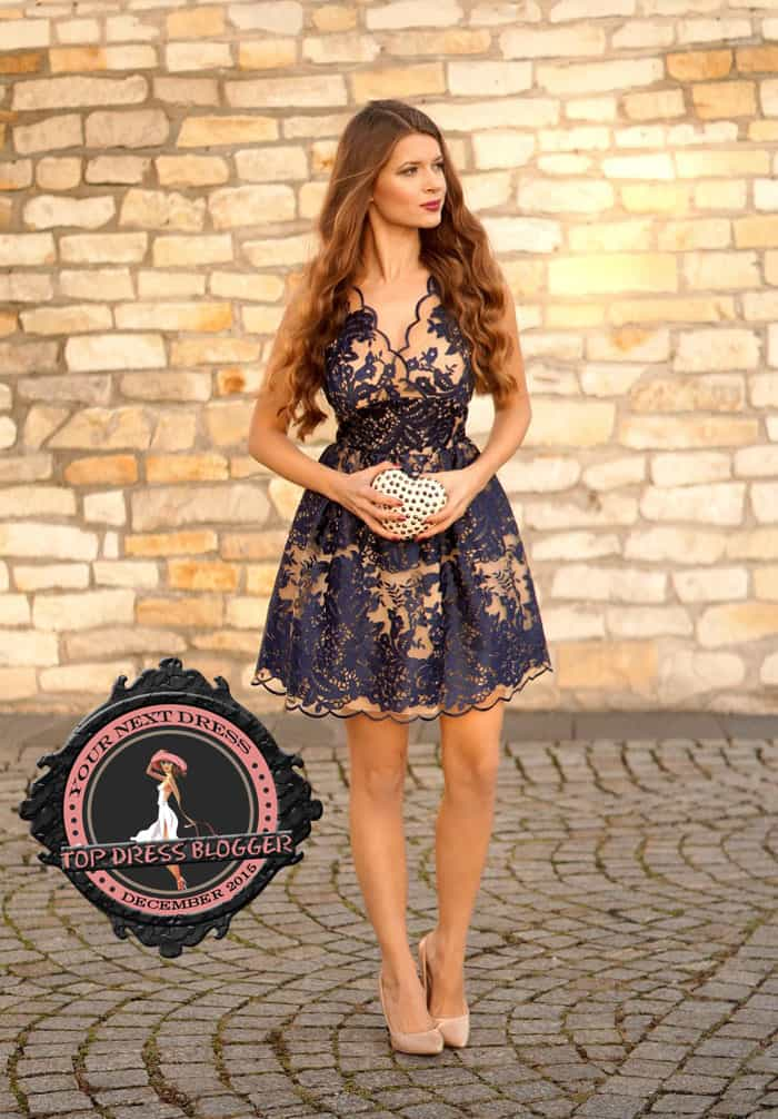 Zoya keeps things simple but classy with scalloped lace dress and nude pumps