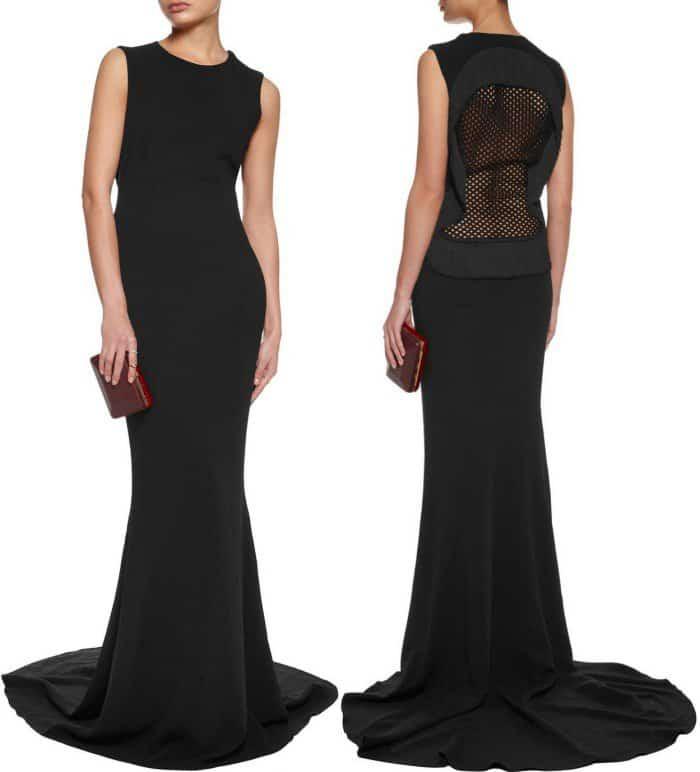 Hamel Lookalike black lace back fishtail gown