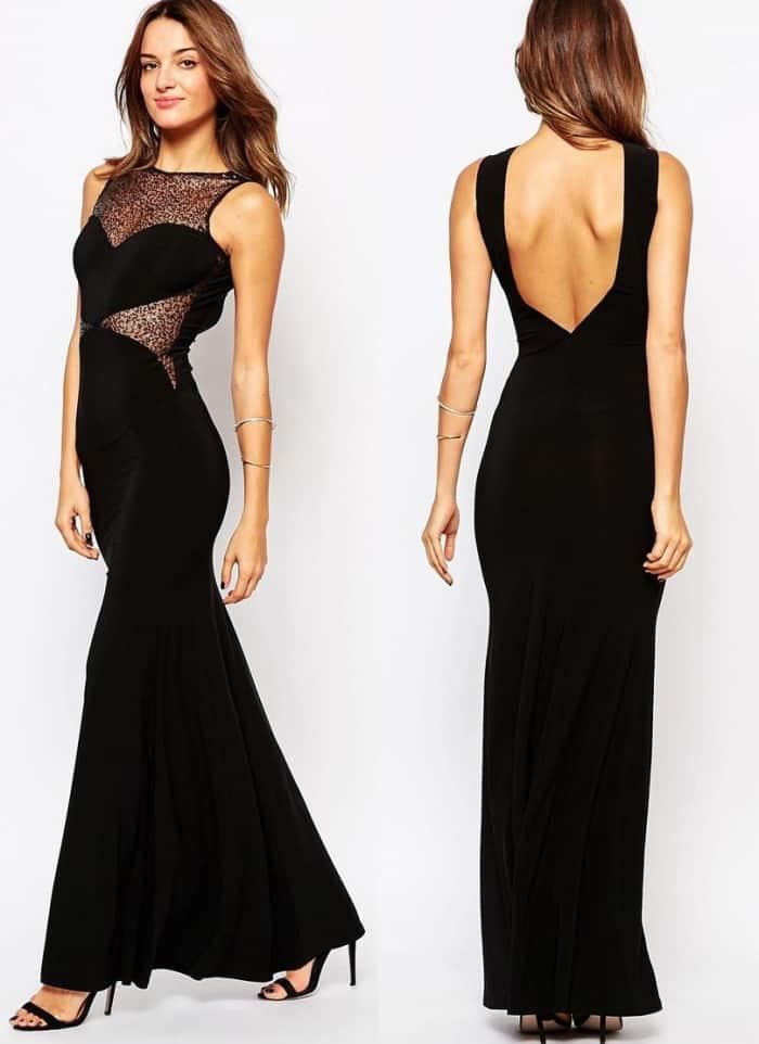 Hamel lookalike black lace side gown