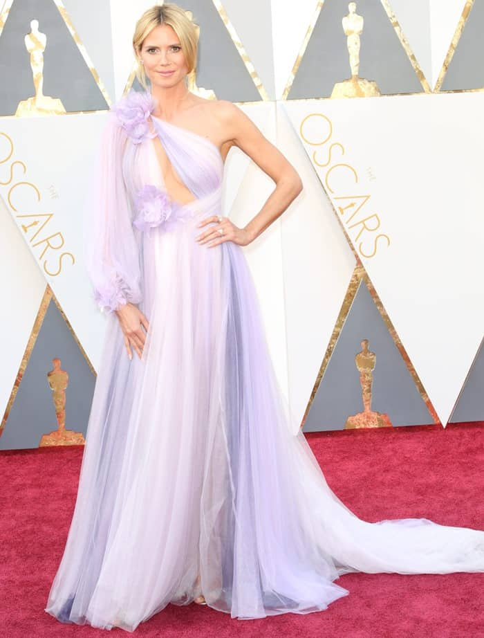 Heidi Klum was one of the worst dressed in a purple Marchesa Fall 2016 gown at the 2016 Academy Awards