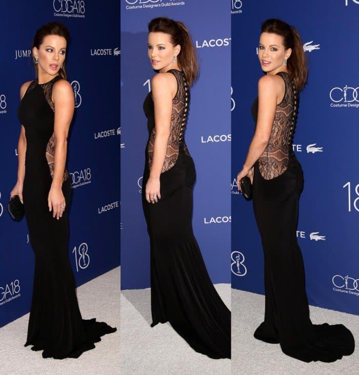 Kate Beckinsale Hamel lace back fishtail gown costume designers awards 2016