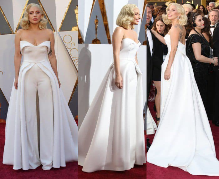 Lady gaga brandon maxwel white gown academy awards 2016