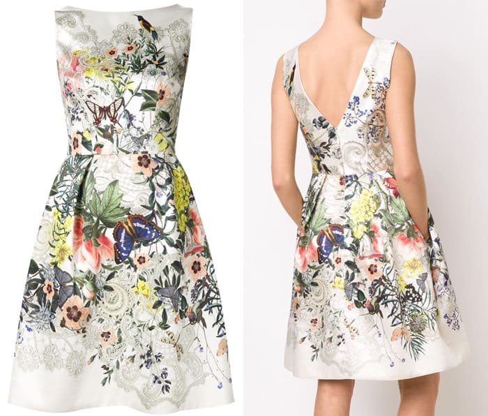 Monique Lhuillier Floral Butterfly Print Dress