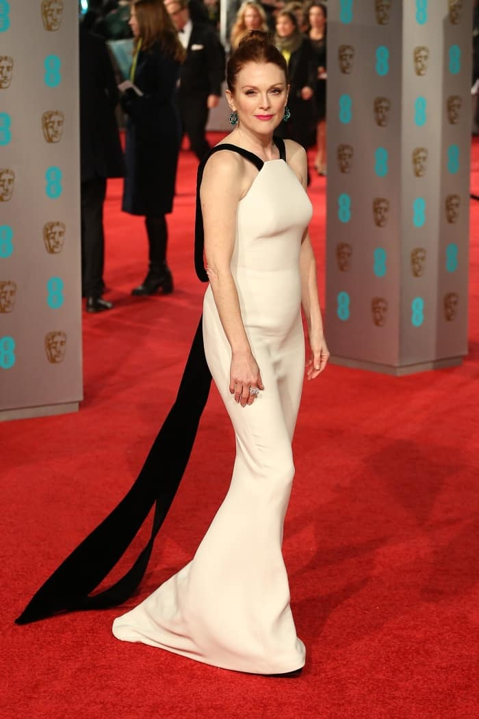 Julianne Moore Georgio Armani White gown fishtail BAFTAs 2016