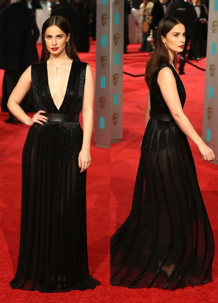 Heida Reed Nicholas Oakwell sheer black gown BAFTAs