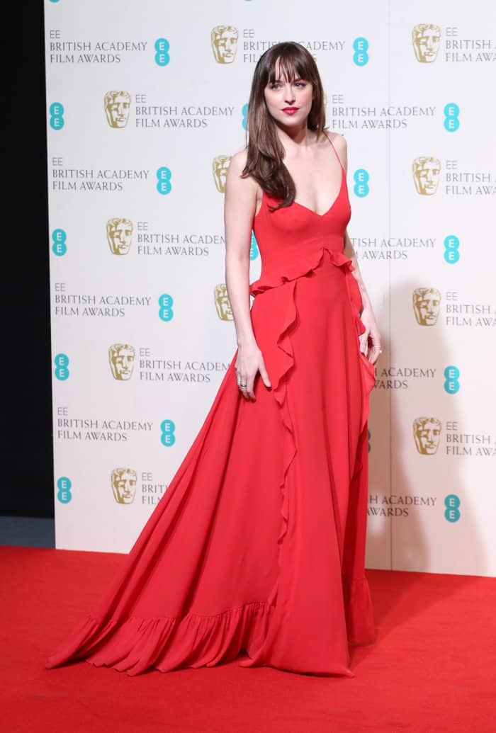 Dakota Johnson Dior red ruffled gown BAFTAs 2016
