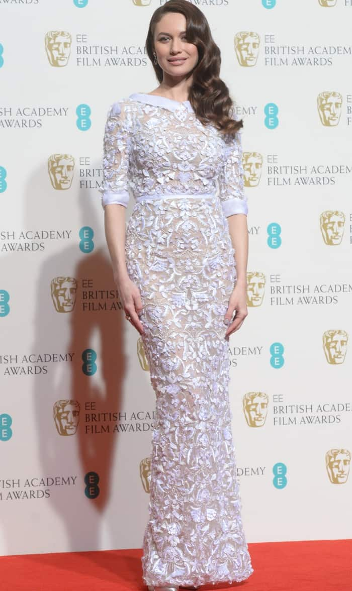 Olga Kurylenko Ralph and Russo white embellished gown BAFTAs 2016
