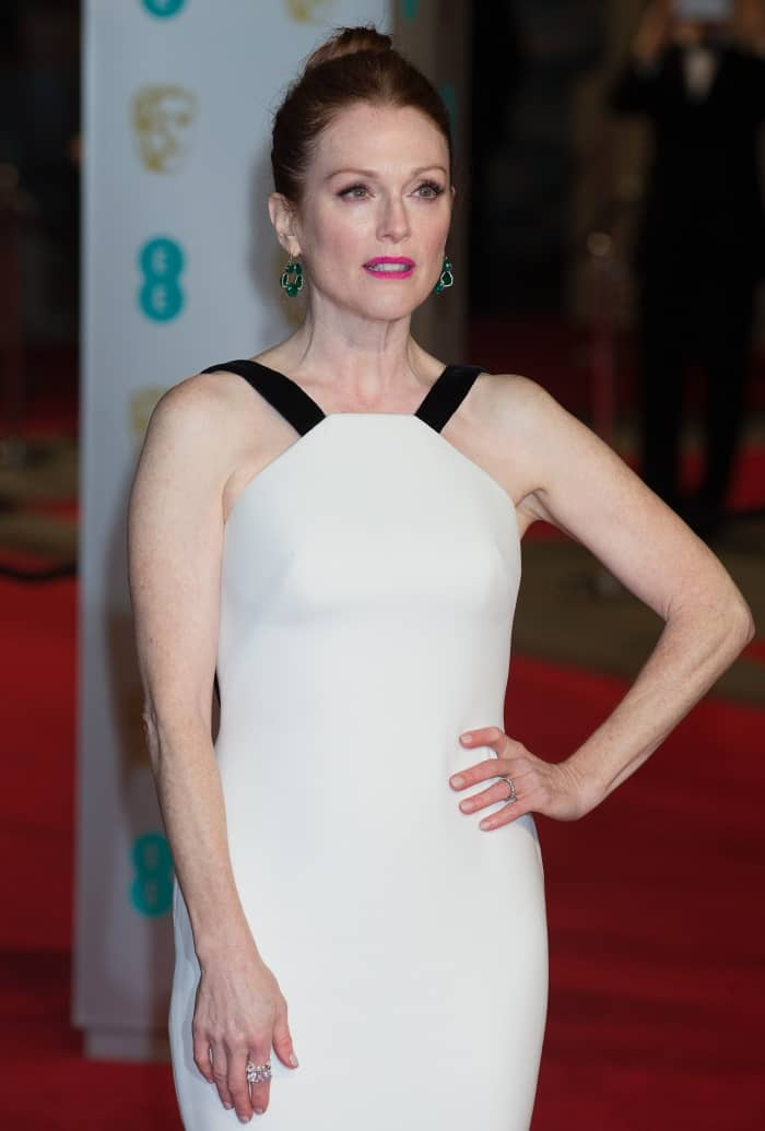 Julianne Moore Georgio Armani White gown fishtail BAFTAs 2016 2
