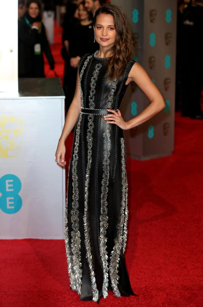 Alicia Vikander Louis Vitton Chain Embellished leather gown BAFTAs 2016