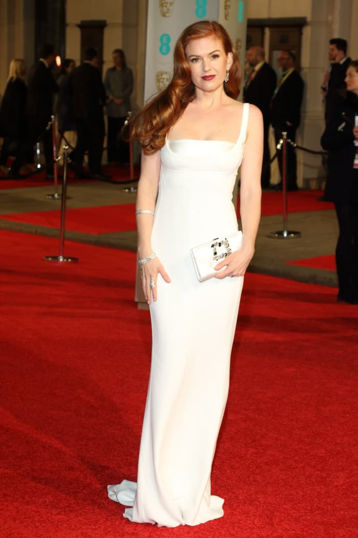 Isla Fisher Stella McCartney White Gown BAFTAs 2016