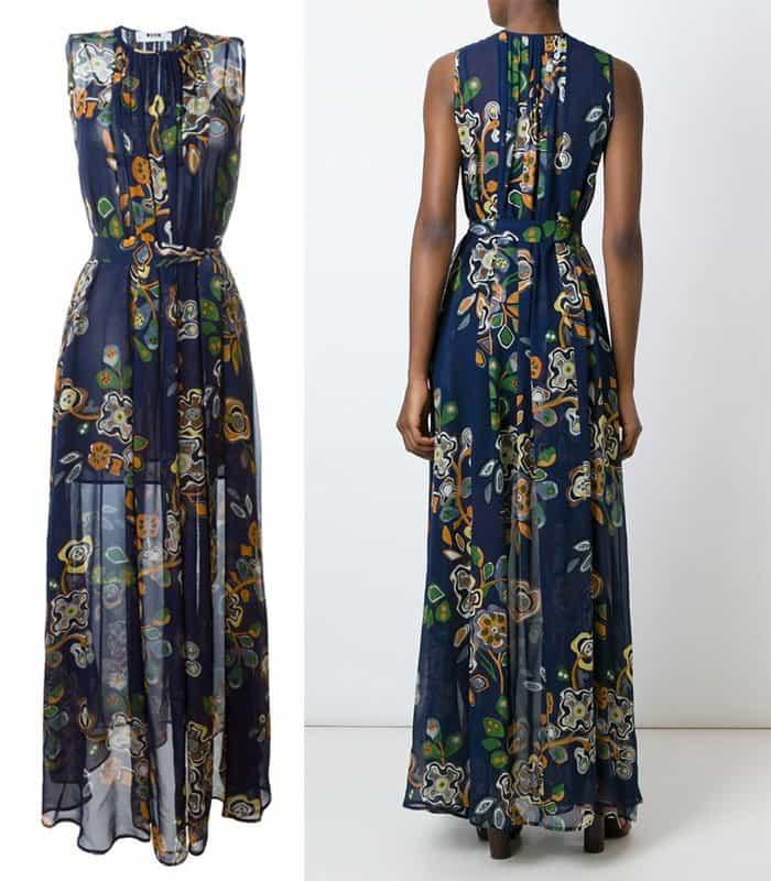 MSGM Belted Floral Print Dress