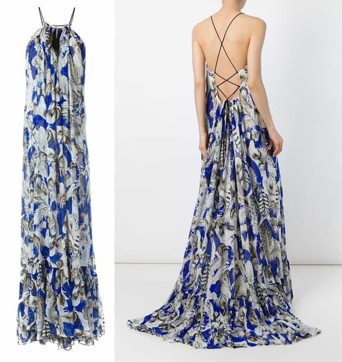 Roberto Cavalli Feather Print Evening Dress