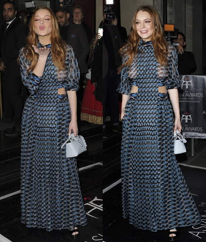 Lindsay Lohan Flashes Breasts In Revealing Sheer Dress-6034