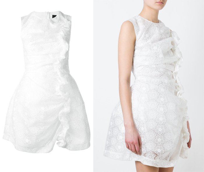 Simone Rocha Asymmetric Hem Ruched Detail Embroidered Dress