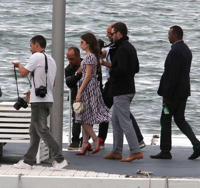 Justin Timberlake and Anna Kendrick seen in Cannes before attending the photocall of their new film 'Trolls'.