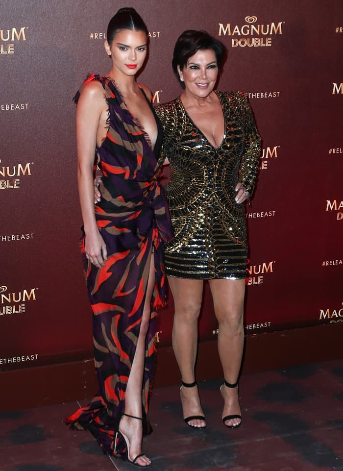 Kendall Jenner and Kris Jenner at the Magnum Double party at Magnum Beach during the 2016 Cannes Film Festival on May 12, 2016