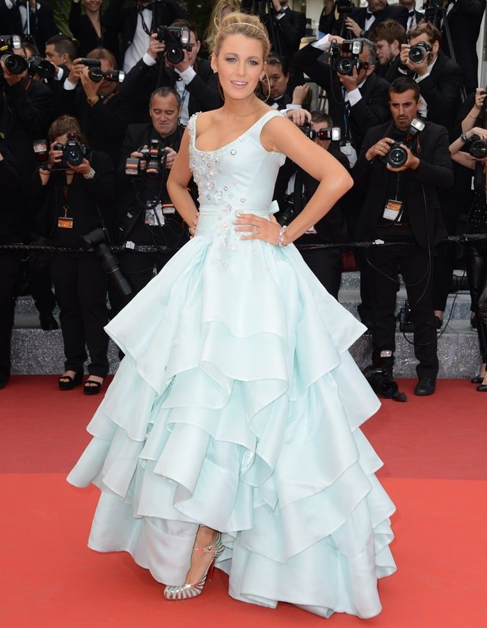 Blake Lively's Cinderella-esque tiered gown was adorned with with floral appliques at the bodice