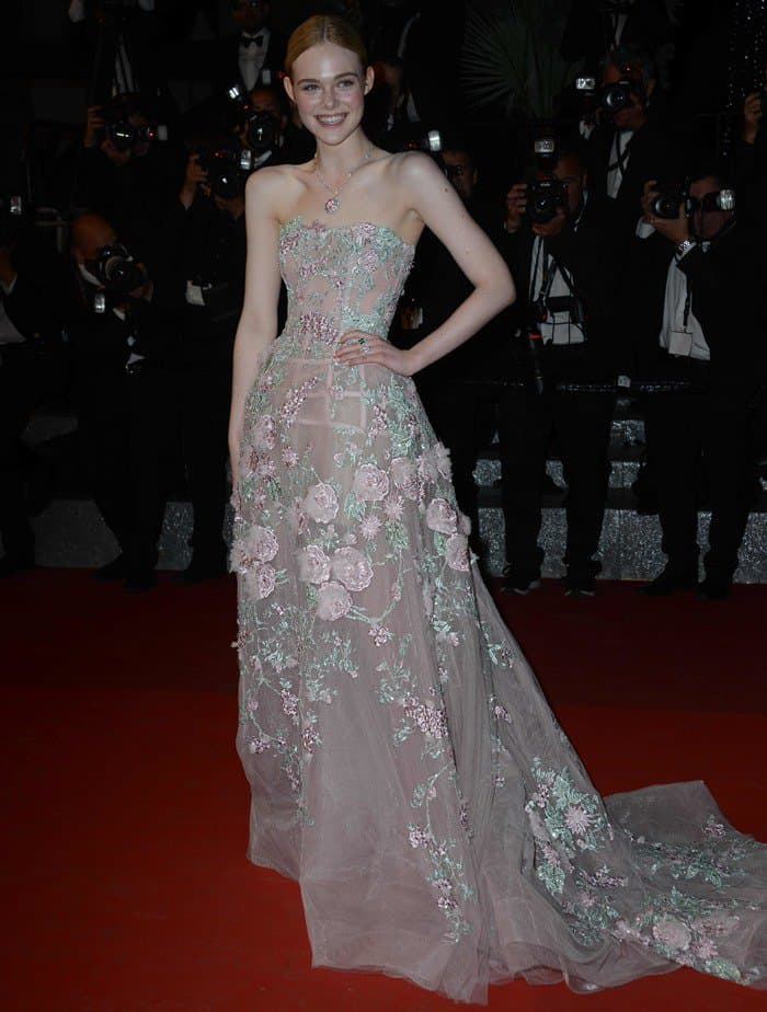 Elle Fanning Looks Like a Princess in Zuhair Murad Floral Gown
