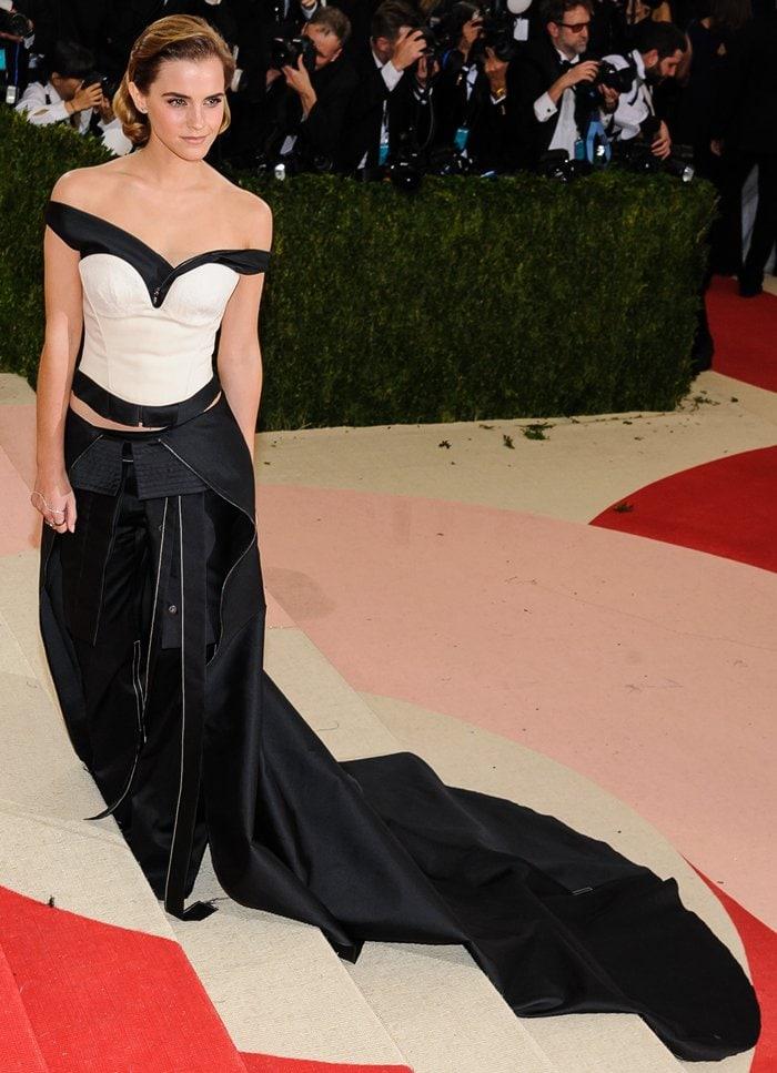 Emma Watson's black taffeta twill off-the-shoulder top and ecru cotton bustier