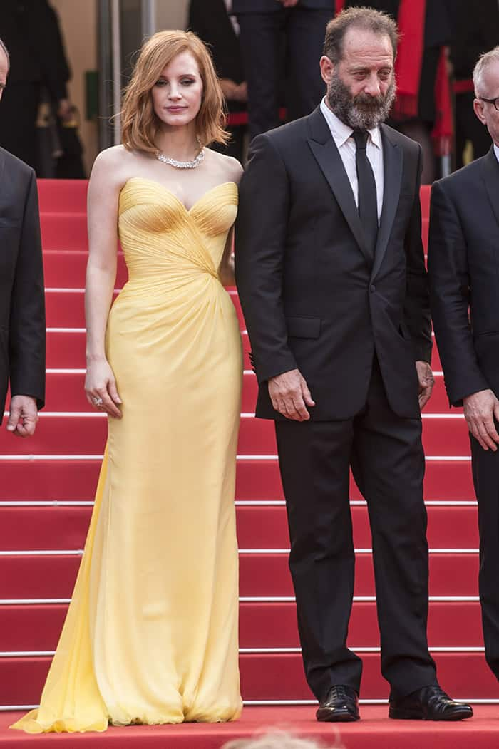 Jessica Chastain together with French actor Vincent Lindon