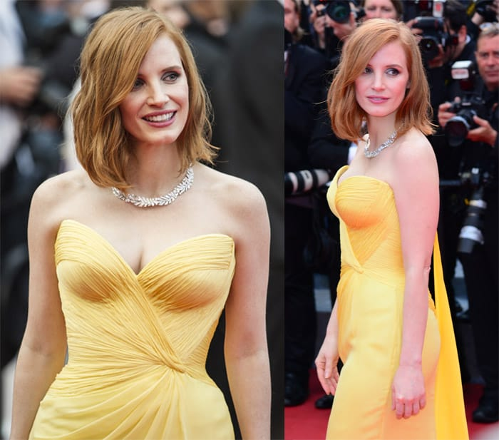 Jessica Chastain's bright yellow sweetheart strapless gown