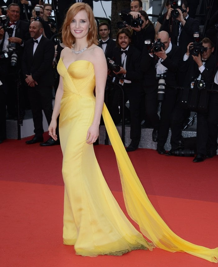 Jessica Chastain cheered up the red carpet with her sunny dress